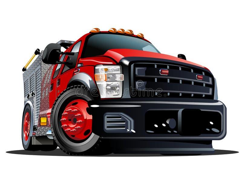 Διανυσματικό πυροσβεστικό όχημα κινούμενων σχεδίων ελεύθερη απεικόνιση δικαιώματος