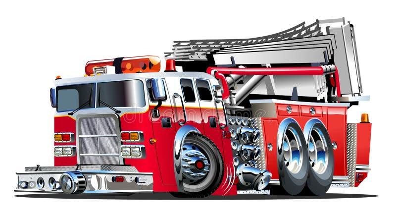 Διανυσματικό πυροσβεστικό όχημα κινούμενων σχεδίων διανυσματική απεικόνιση