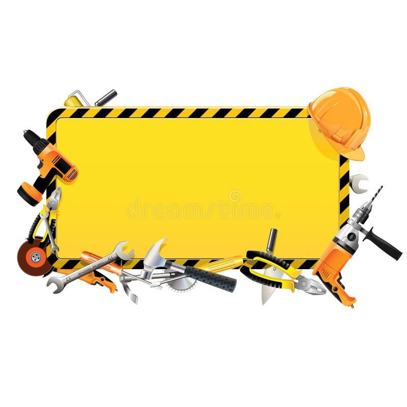 Διανυσματικό πλαίσιο κατασκευής με τα εργαλεία απεικόνιση αποθεμάτων