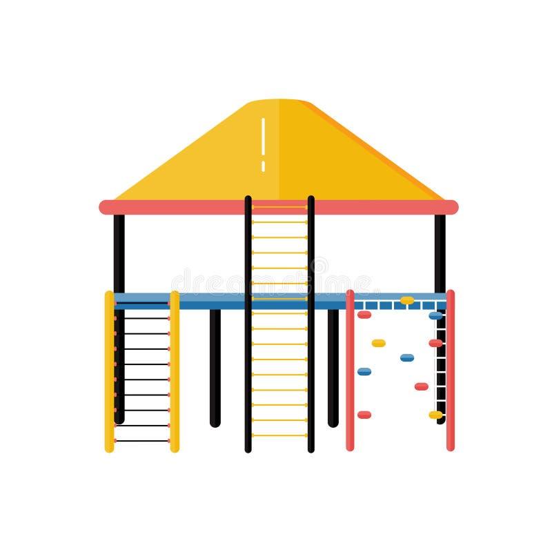Διανυσματικό πλαστικό σύστημα σκαλών σχοινιών παιδικών χαρών παιδιών στο επίπεδο σχέδιο ελεύθερη απεικόνιση δικαιώματος