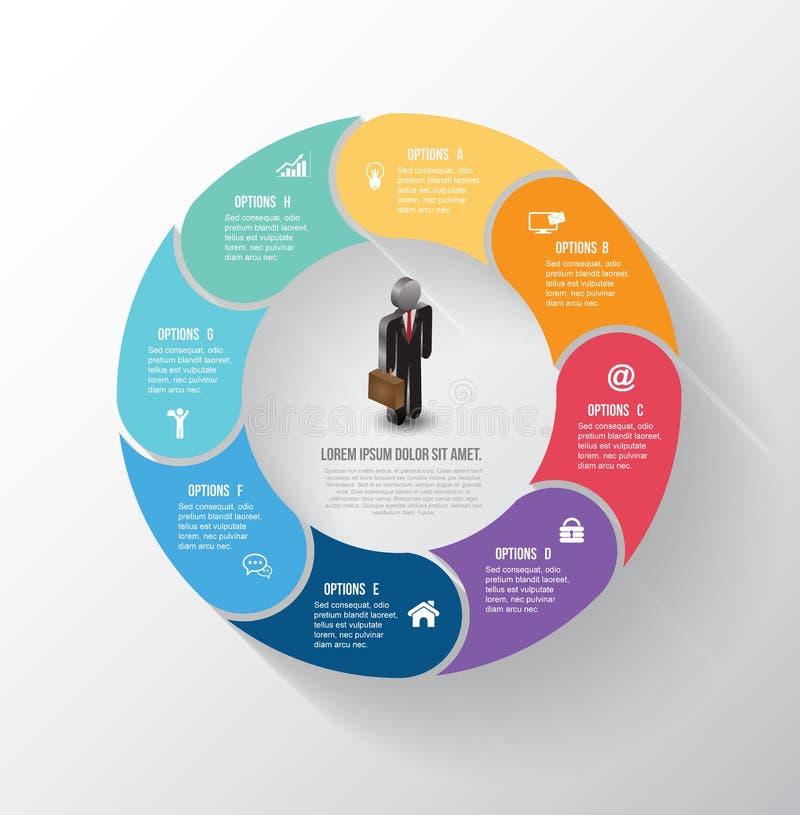 Διανυσματικό πληροφορία-γραφικό βήμα κύκλων με τα εικονίδια επιχειρησιακών ατόμων απεικόνιση αποθεμάτων