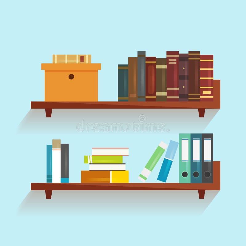 Διανυσματικό ράφι με τα βιβλία ελεύθερη απεικόνιση δικαιώματος