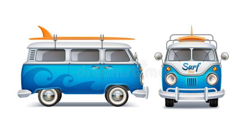 Διανυσματικό ρεαλιστικό αναδρομικό μπλε λεωφορείο με την ιστιοσανίδα διανυσματική απεικόνιση