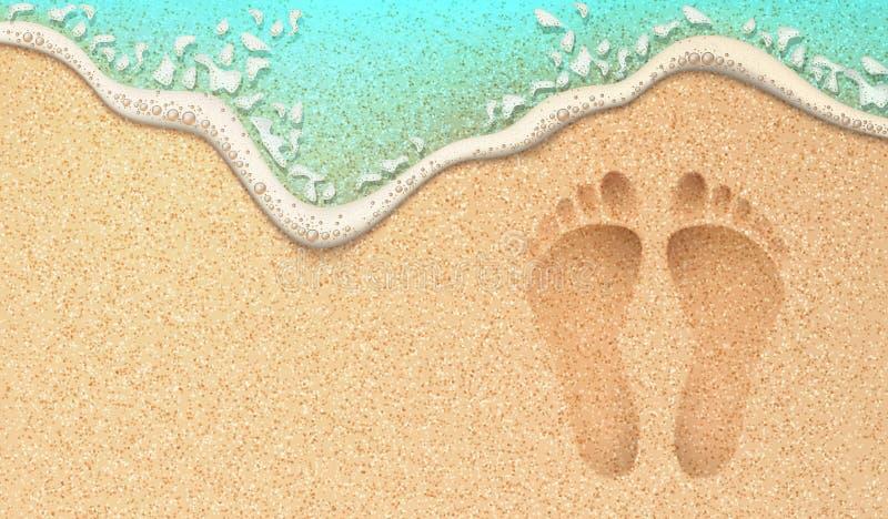 Διανυσματικό ρεαλιστικό ανθρώπινο ίχνος στην άμμο παραλιών θάλασσας απεικόνιση αποθεμάτων