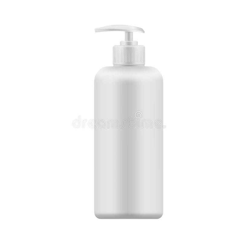 Διανυσματικό ρεαλιστικό κενό πρότυπο του πλαστικού μπουκαλιού με το διανομέα διανυσματική απεικόνιση