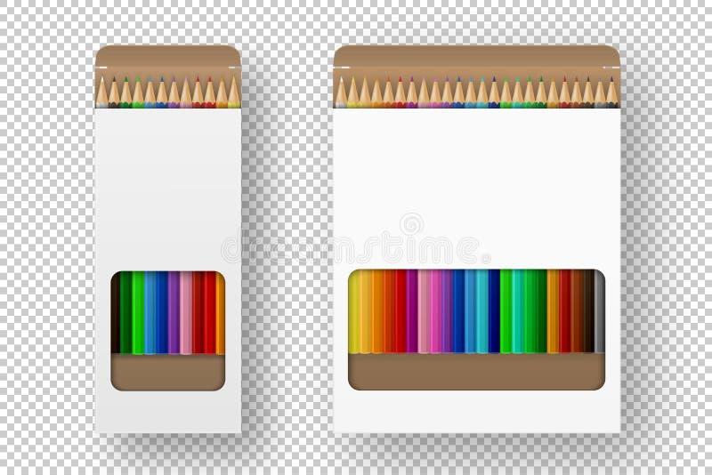 Διανυσματικό ρεαλιστικό κιβώτιο της χρωματισμένης καθορισμένης κινηματογράφησης σε πρώτο πλάνο εικονιδίων μολυβιών που απομονώνετ ελεύθερη απεικόνιση δικαιώματος