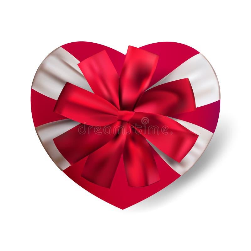 Διανυσματικό ρεαλιστικό κόκκινο κιβώτιο δώρων μορφής καρδιών που απομονώνεται στο άσπρο υπόβαθρο με το τόξο Για την ημέρα ή την α ελεύθερη απεικόνιση δικαιώματος