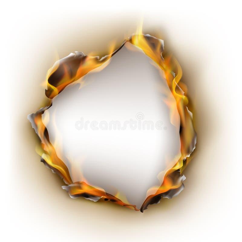Διανυσματικό ρεαλιστικό μμένο έγγραφο, φλόγες στον κύκλο ελεύθερη απεικόνιση δικαιώματος