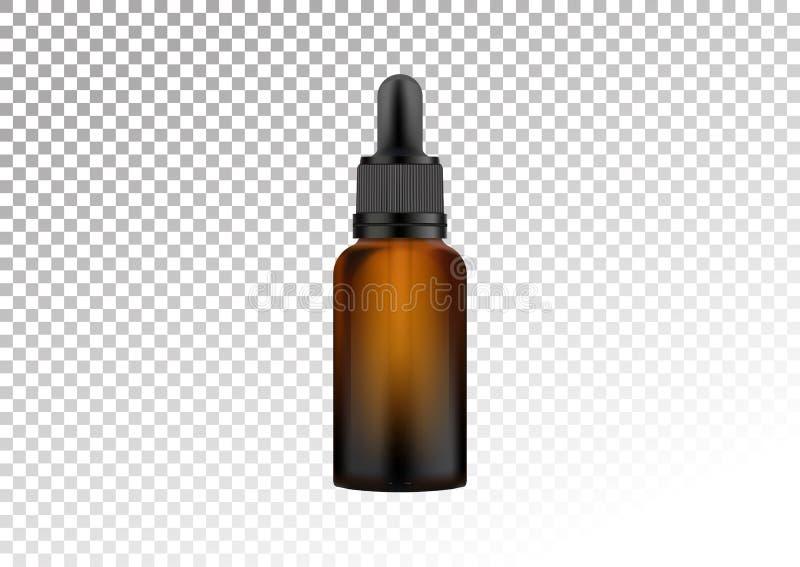 Διανυσματικό ρεαλιστικό σκοτεινό μπουκάλι γυαλιού με το σιφώνιο για τις πτώσεις Καλλυντικά φιαλίδια για το πετρέλαιο, υγρό ουσιασ διανυσματική απεικόνιση
