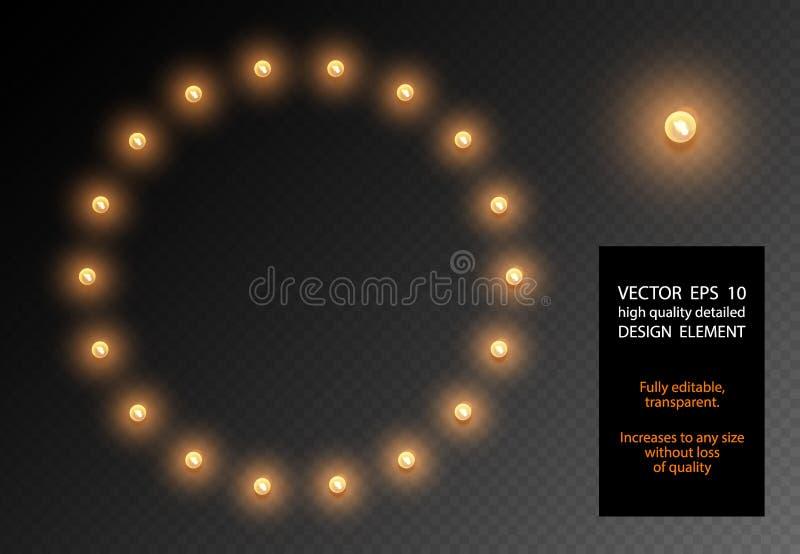 Διανυσματικό ρεαλιστικό στοιχείο σχεδίου λαμπών φωτός διαφανές απομονωμένο Πλαίσιο μορφής κύκλων λαμπτήρων πυράκτωσης στο διαφανέ διανυσματική απεικόνιση