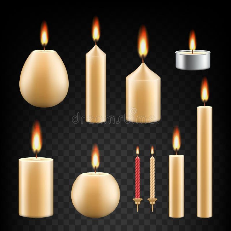 Διανυσματικό ρεαλιστικό σύνολο εικονιδίων κεριών καψίματος ελεύθερη απεικόνιση δικαιώματος