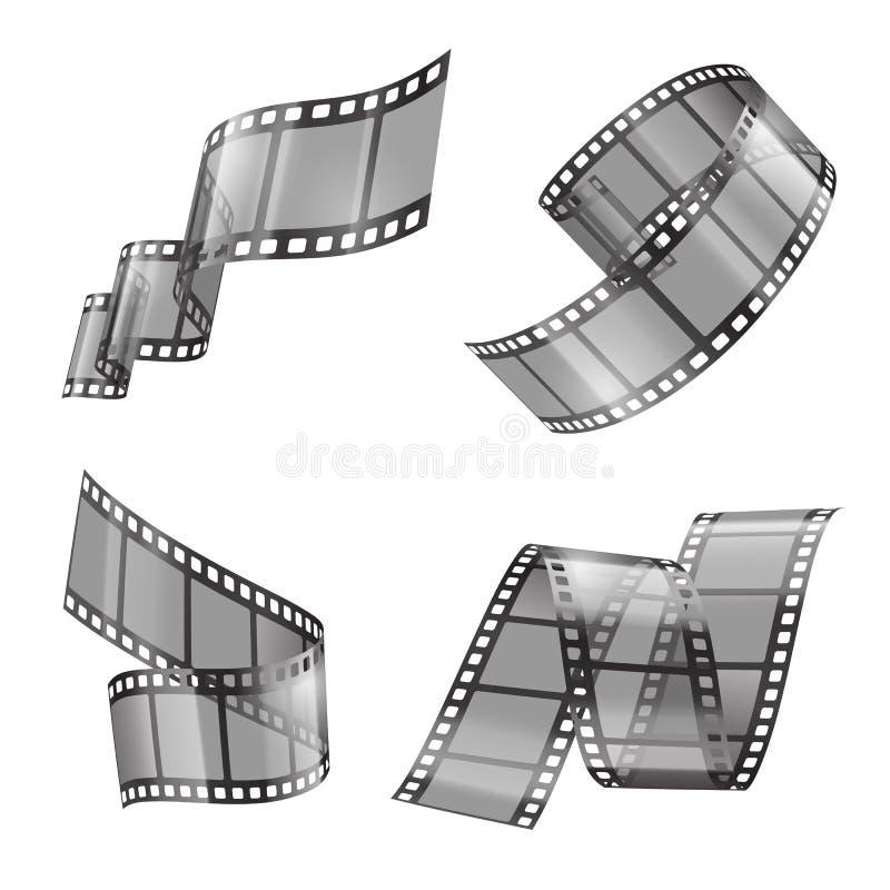 Διανυσματικό ρεαλιστικό σύνολο λουρίδας ταινιών, ταινίες κινηματογράφων διανυσματική απεικόνιση