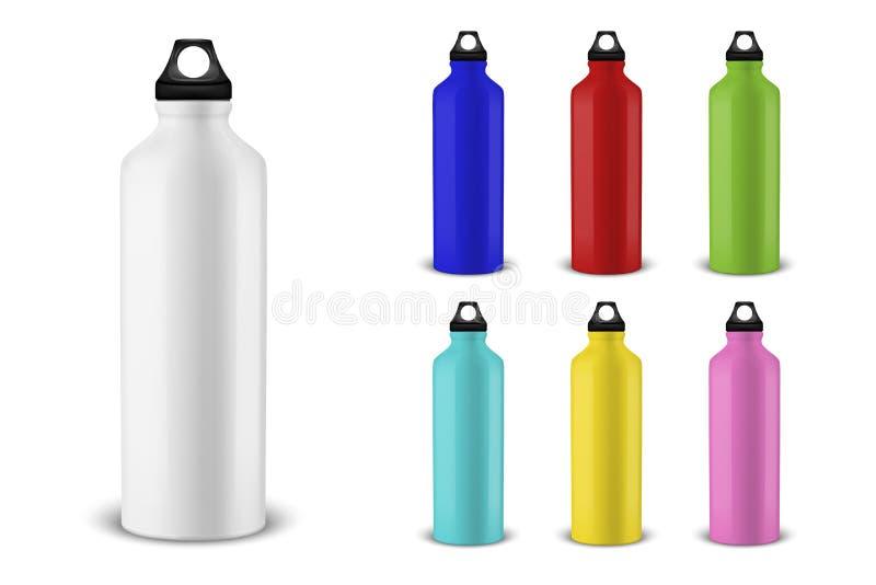 Διανυσματικό ρεαλιστικό τρισδιάστατο διαφορετικό μπουκάλι νερό μετάλλων χρώματος κενό στιλπνό με τη μαύρη καθορισμένη κινηματογρά ελεύθερη απεικόνιση δικαιώματος