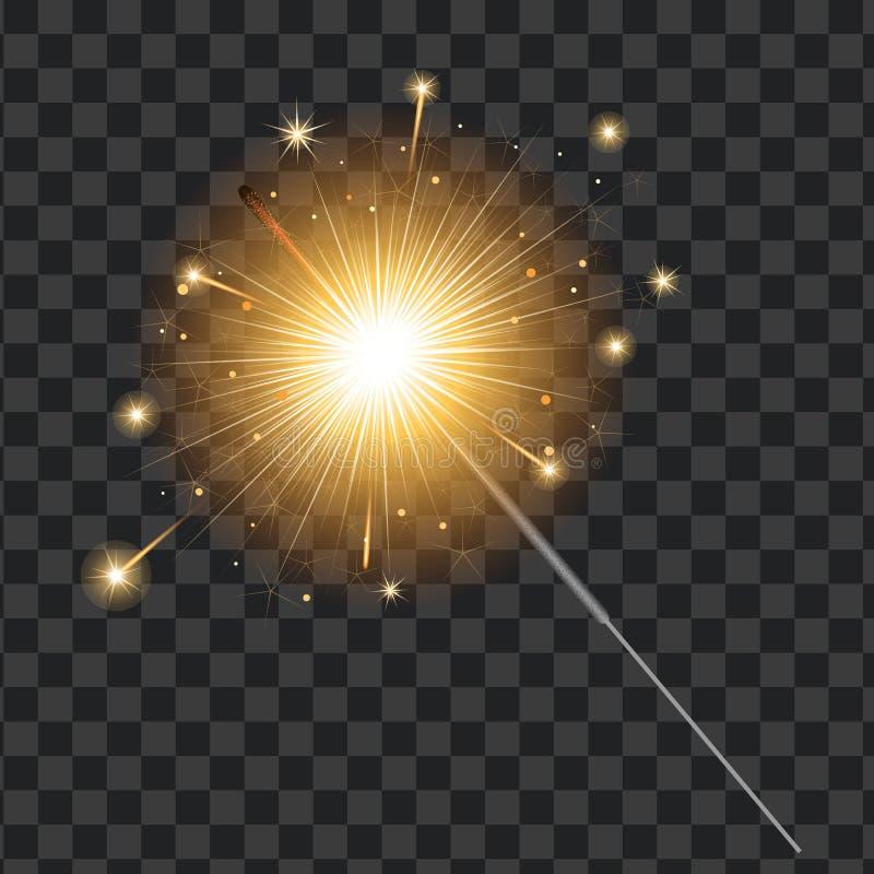 Διανυσματικό ρεαλιστικό sparkler, διαφανές υπόβαθρο απεικόνιση αποθεμάτων