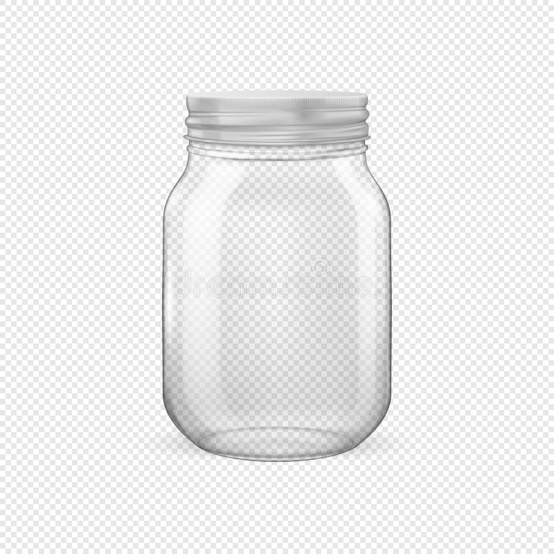 Διανυσματικό ρεαλιστικό κενό βάζο γυαλιού για την κονσερβοποίηση και τη συντήρηση με το αργυροειδές καπάκι απεικόνιση αποθεμάτων