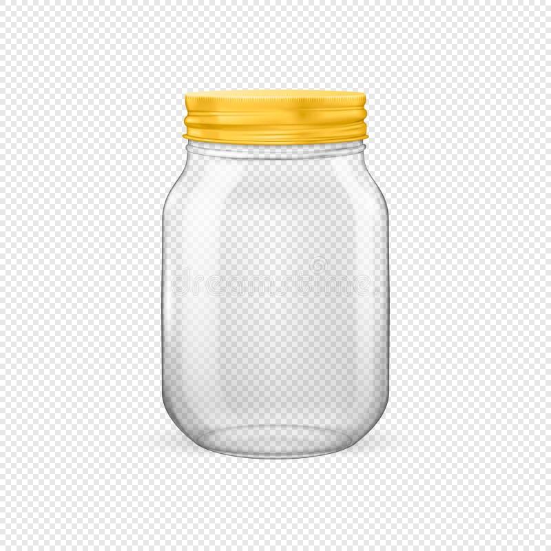 Διανυσματικό ρεαλιστικό κενό βάζο γυαλιού για την κονσερβοποίηση και τη συντήρηση με το χρυσό καπάκι ελεύθερη απεικόνιση δικαιώματος