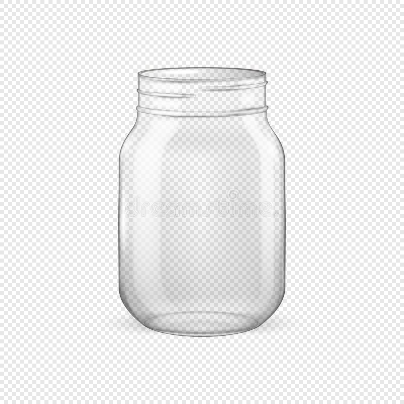 Διανυσματικό ρεαλιστικό κενό βάζο γυαλιού για την κονσερβοποίηση και τη συντήρηση χωρίς καπάκι απεικόνιση αποθεμάτων