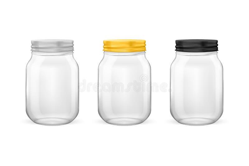 Διανυσματικό ρεαλιστικό κενό βάζο γυαλιού για την κονσερβοποίηση και τη συντήρηση του συνόλου διανυσματική απεικόνιση