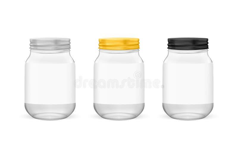 Διανυσματικό ρεαλιστικό κενό βάζο γυαλιού για την κονσερβοποίηση και τη συντήρηση του συνόλου με την αργυροειδή, χρυσή και μαύρη  απεικόνιση αποθεμάτων