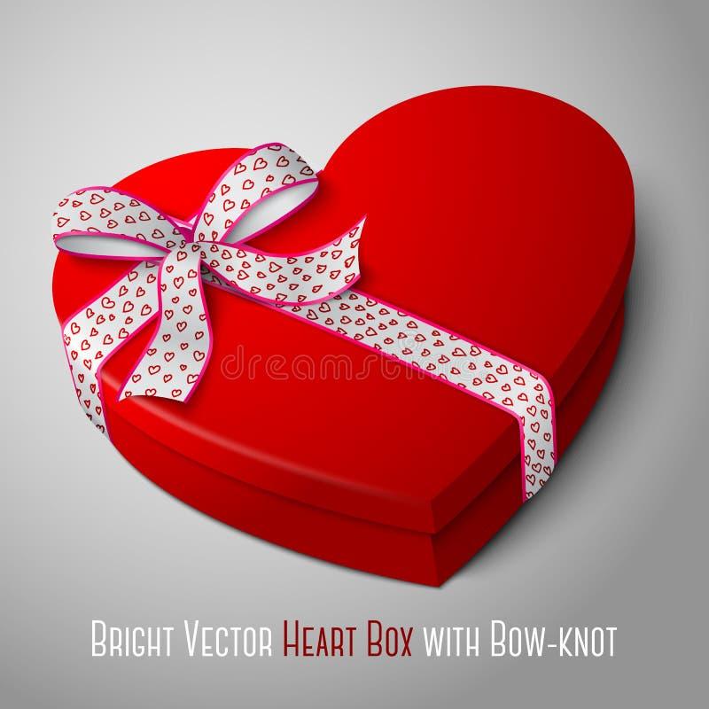 Διανυσματικό ρεαλιστικό κενό φωτεινό κόκκινο κιβώτιο μορφής καρδιών διανυσματική απεικόνιση