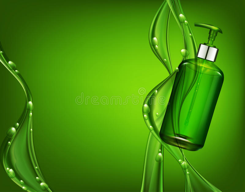 Διανυσματικό ρεαλιστικό, πράσινο, διαφανές μπουκάλι τρισδιάστατο με την αντλία ο σαπουνιών διανυσματική απεικόνιση
