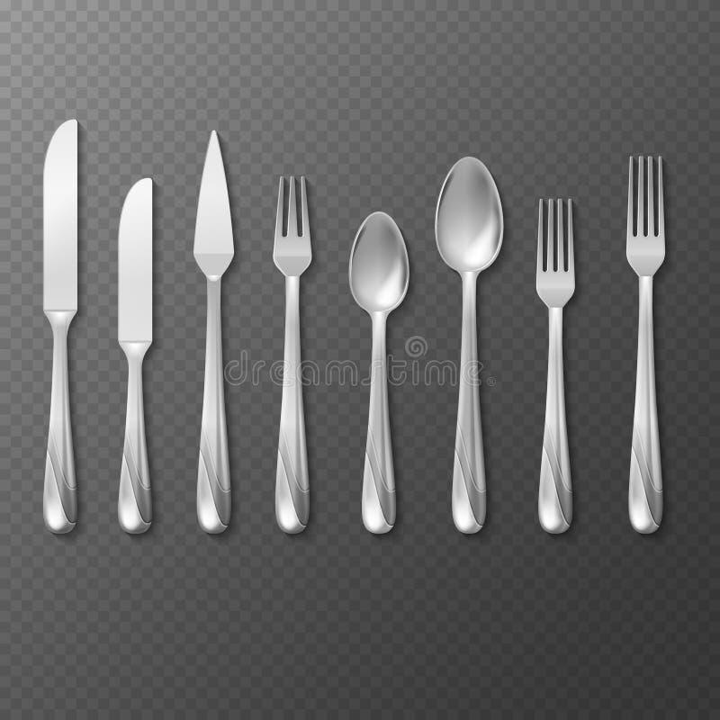Διανυσματικό ρεαλιστικό σύνολο μαχαιροπήρουνων, ασήμι ή δίκρανο χάλυβα, κουτάλι, μαχαίρι διανυσματική απεικόνιση