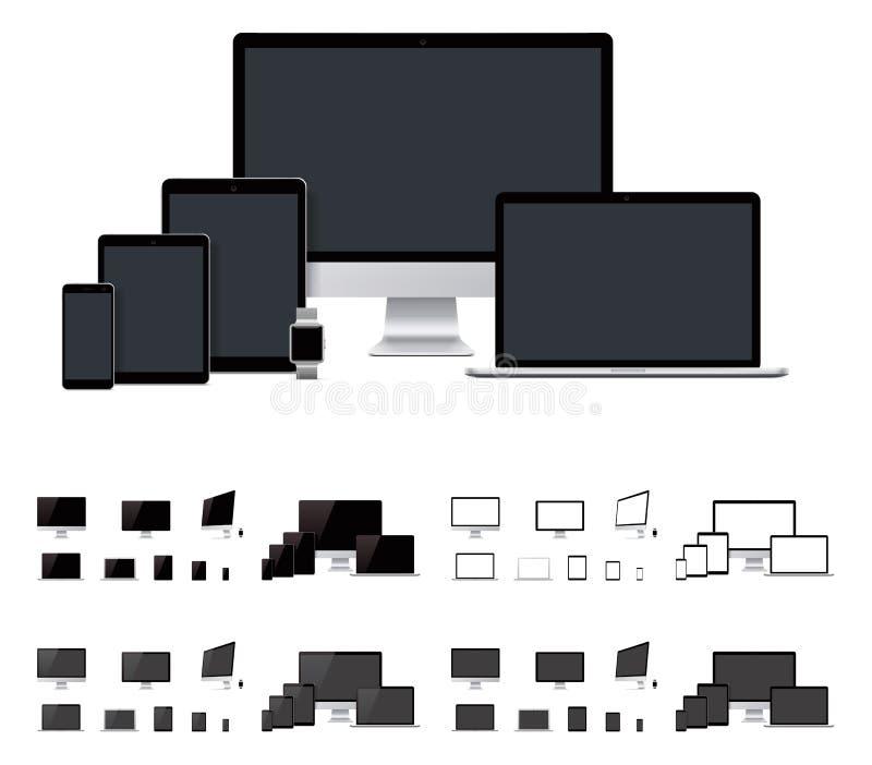 Διανυσματικό ρεαλιστικό lap-top, υπολογιστής γραφείου, κινητός, ταμπλέτα, smartwatch πρότυπα διανυσματική απεικόνιση