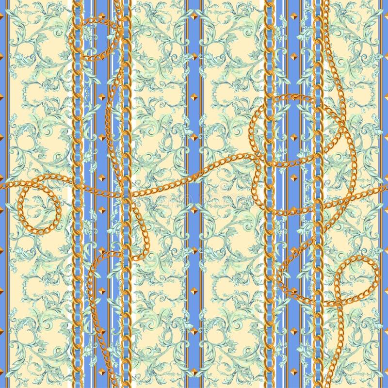 Μπαρόκ άνευ ραφής σχέδιο με τις αλυσίδες Διανυσματικό ριγωτό μπάλωμα για την τυπωμένη ύλη, ύφασμα, μαντίλι απεικόνιση αποθεμάτων
