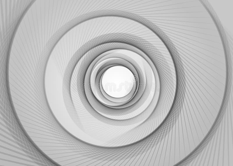 Διανυσματικό ριγωτό σπειροειδές αφηρημένο υπόβαθρο σηράγγων Σπειροειδής χοάνη Γκρίζα στριμμένη τρύπα ακτίνων Διέγερση κιμένος σπε διανυσματική απεικόνιση