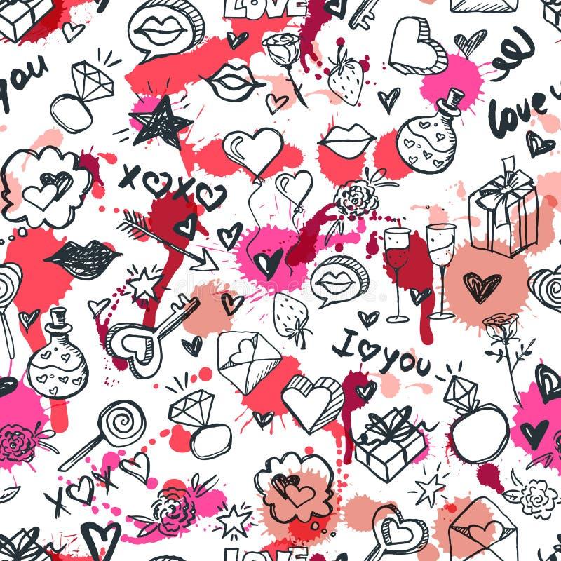 Διανυσματικό ρομαντικό άνευ ραφής σχέδιο doodle Σχέδιο για την υφαντική τυπωμένη ύλη μόδας, τύλιγμα, υπόβαθρα ημέρας βαλεντίνων ελεύθερη απεικόνιση δικαιώματος