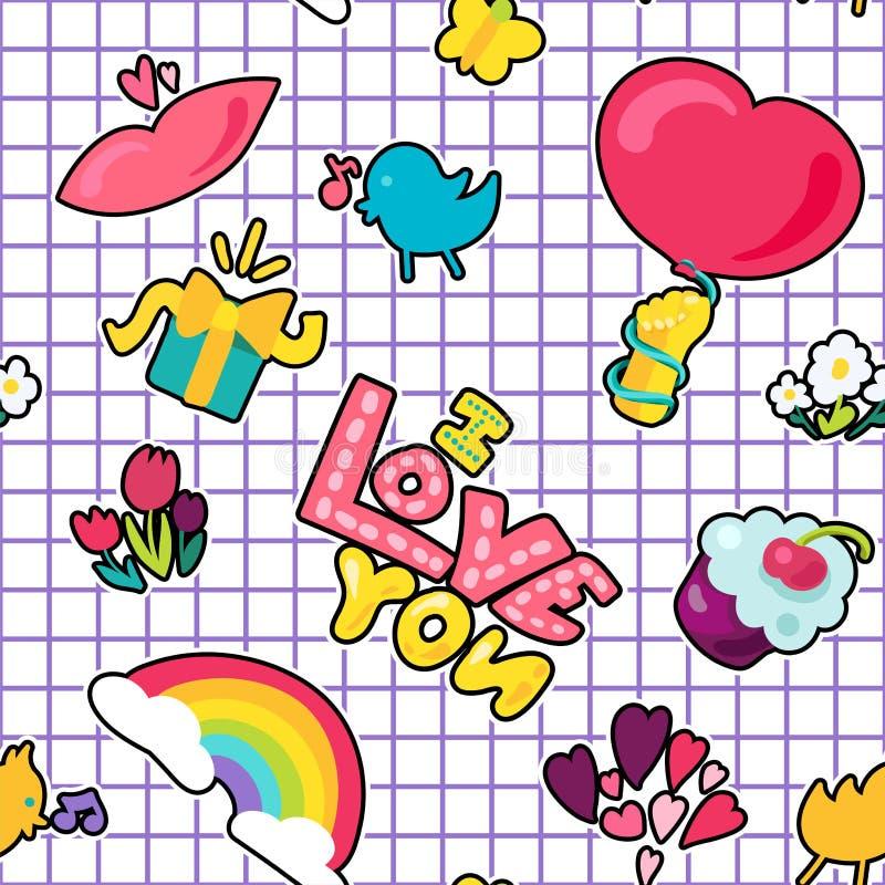 Διανυσματικό ρομαντικό μπάλωμα αγάπης στο ύφος doodle ελεύθερη απεικόνιση δικαιώματος