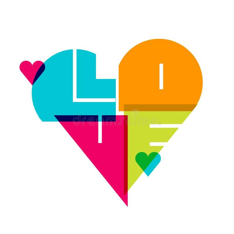 Διανυσματικό ρομαντικό υπόβαθρο, πολύχρωμη καρδιά με την αγάπη λέξης, ISO ελεύθερη απεικόνιση δικαιώματος