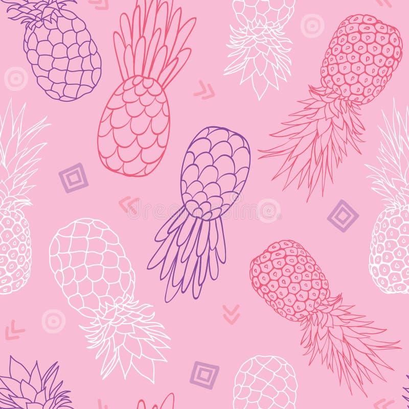 Διανυσματικό ρόδινο και πορφυρό υπόβαθρο θερινών τροπικό άνευ ραφής σχεδίων σύστασης ανανάδων doodle Μεγάλος ως υφαντική τυπωμένη ελεύθερη απεικόνιση δικαιώματος
