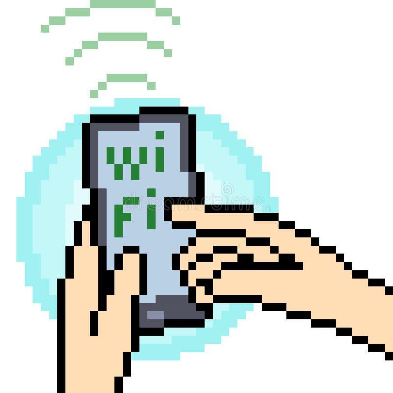 Διανυσματικό σήμα wifi τέχνης εικονοκυττάρου διανυσματική απεικόνιση