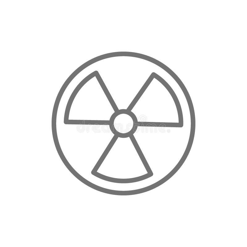 Διανυσματικό σημάδι ακτινοβολίας, ραδιενεργό εικονίδιο γραμμών προειδοποίησης διανυσματική απεικόνιση