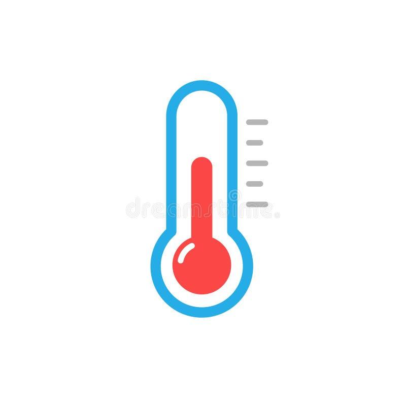 Διανυσματικό σημάδι επιπέδων θερμοκρασίας εικονιδίων θερμομέτρων, χαριτωμένη έγχρωμη εικονογράφηση που απομονώνεται στο άσπρο υπό απεικόνιση αποθεμάτων