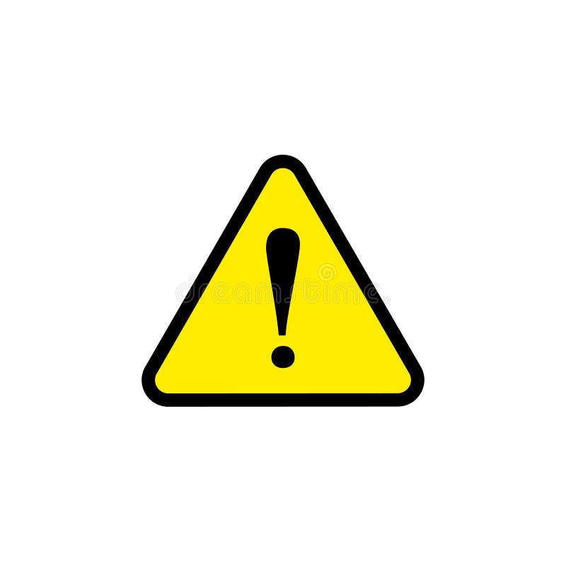 Διανυσματικό σημάδι κινδύνου προσοχής, κίτρινο επίπεδο εικονίδιο τριγώνων, επικίνδυνο σημάδι απεικόνιση αποθεμάτων