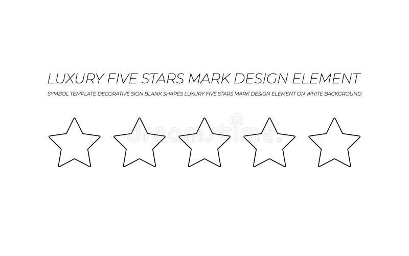 Διανυσματικό σημάδι πέντε-αστεριών, που απομονώνεται στο άσπρο σύμβολο πολυτέλειας υποβάθρου, μαύρα αστέρια περιλήψεων απεικόνιση αποθεμάτων