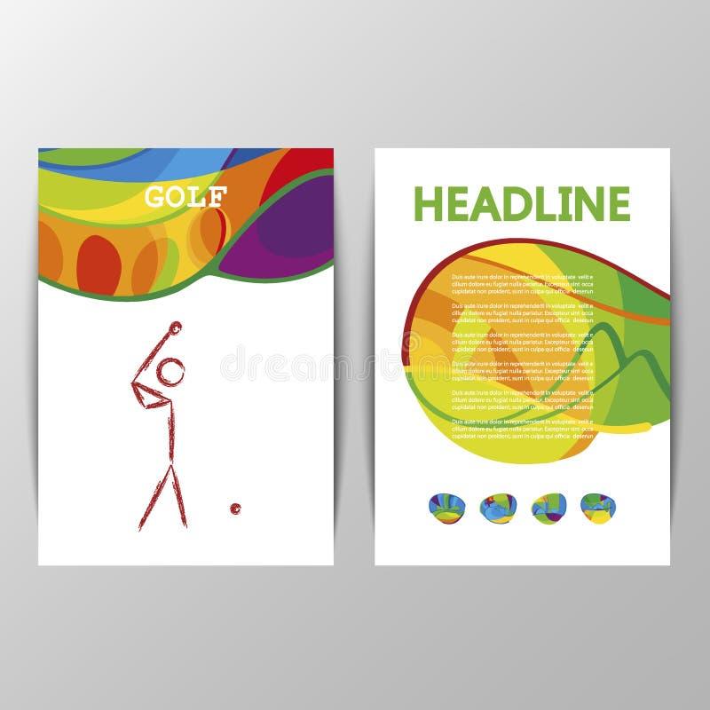 Διανυσματικό σημάδι αθλητικών εικονιδίων γκολφ σχεδίου κάλυψης διανυσματική απεικόνιση
