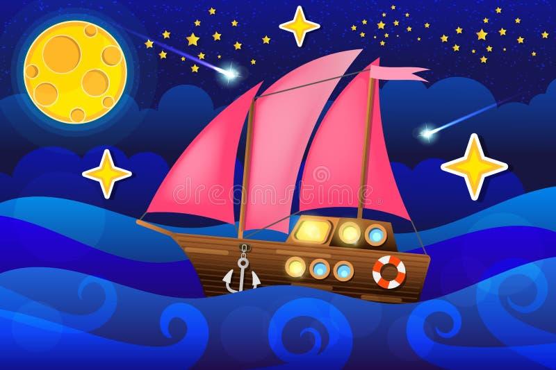 Διανυσματικό σκάφος θάλασσας απεικόνισης στη νύχτα φεγγαριών επίσης corel σύρετε το διάνυσμα απεικόνισης απεικόνιση αποθεμάτων
