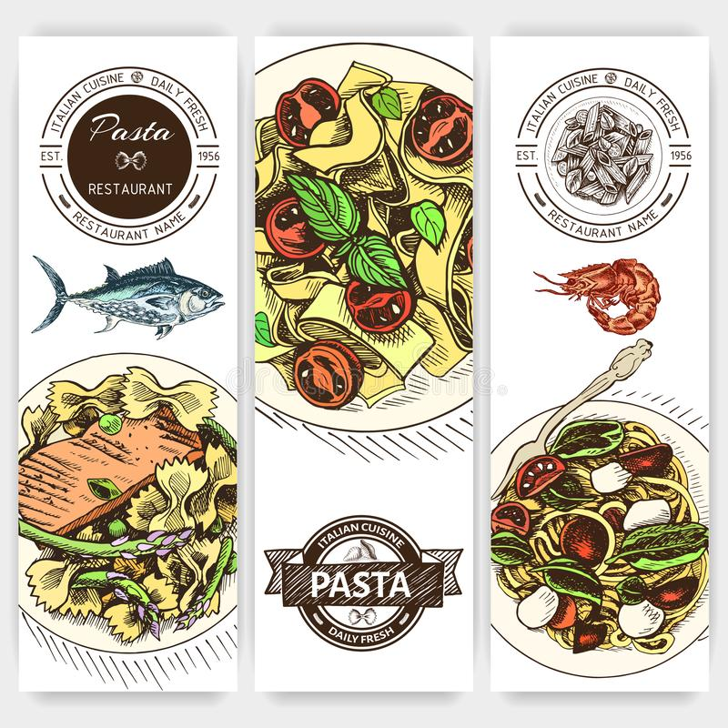 Διανυσματικό σκίτσο απεικόνισης - ζυμαρικά Ιταλικό εστιατόριο επιλογών καρτών Italan τρόφιμα εμβλημάτων απεικόνιση αποθεμάτων