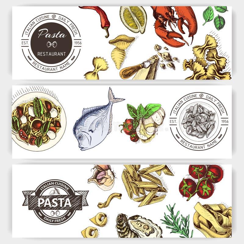 Διανυσματικό σκίτσο απεικόνισης - ζυμαρικά Ιταλικό εστιατόριο επιλογών καρτών Italan τρόφιμα εμβλημάτων ελεύθερη απεικόνιση δικαιώματος