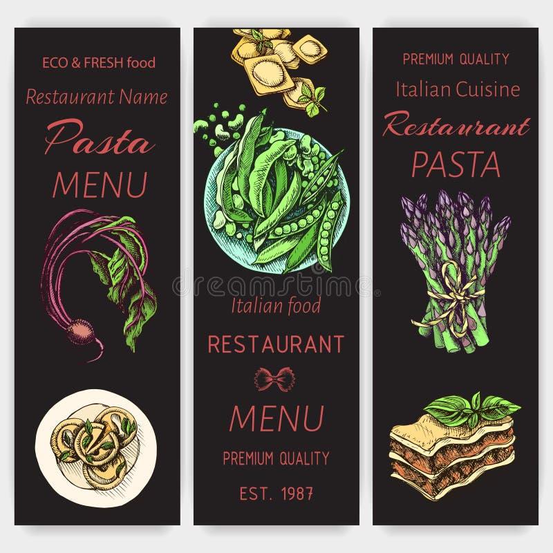 Διανυσματικό σκίτσο απεικόνισης - ζυμαρικά Ιταλικό εστιατόριο επιλογών καρτών Italan τρόφιμα εμβλημάτων διανυσματική απεικόνιση