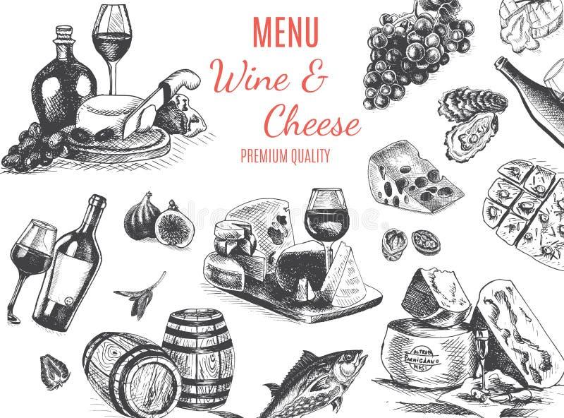 Διανυσματικό σκίτσο απεικόνισης - κρασί και τυρί Εστιατόριο επιλογών καρτών εκλεκτής ποιότητας πρότυπο σχεδίου, έμβλημα διανυσματική απεικόνιση