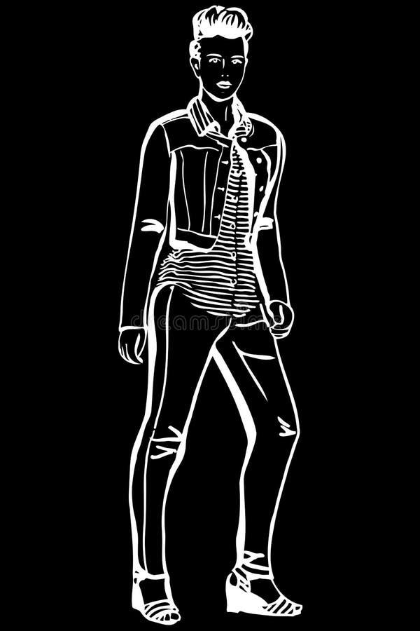 Διανυσματικό σκίτσο ενός κοριτσιού σε μια ριγωτή μπλούζα και τα τζιν διανυσματική απεικόνιση