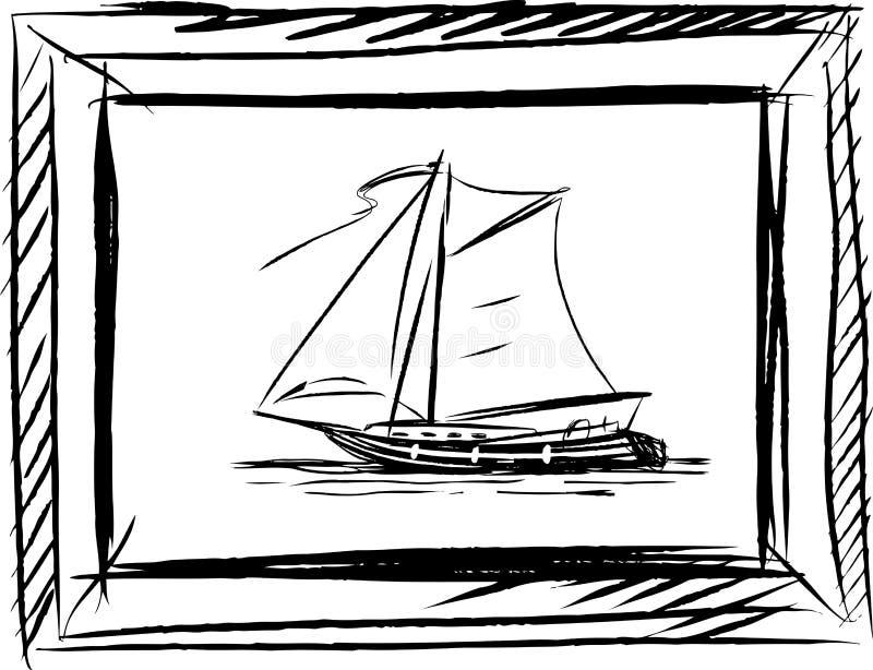 Διανυσματικό σκίτσο μιας πλέοντας βάρκας σε ένα πλαίσιο ελεύθερη απεικόνιση δικαιώματος