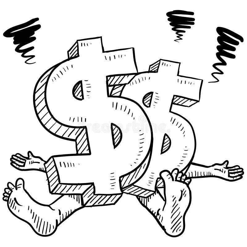 Διανυσματικό σκίτσο πίεσης χρημάτων διανυσματική απεικόνιση