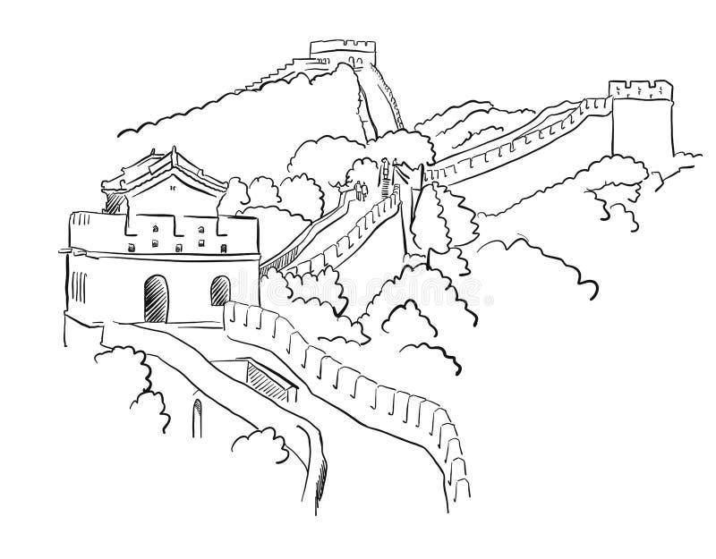 Διανυσματικό σκίτσο Σινικών Τειχών της Κίνας απεικόνιση αποθεμάτων