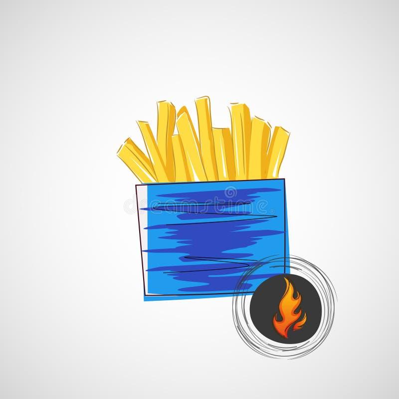 Διανυσματικό σκίτσο του χαρτονιού με τις τηγανιτές πατάτες ελεύθερη απεικόνιση δικαιώματος