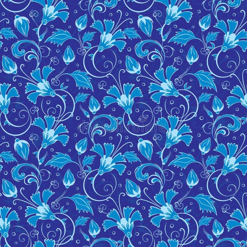 Διανυσματικό σκούρο μπλε τουρκικό floral άνευ ραφής σχέδιο απεικόνιση αποθεμάτων